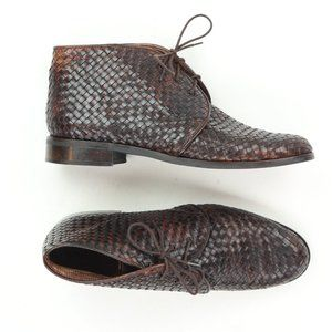 Sesto Meucci Women 8 Lace Up Leather Weave Boots